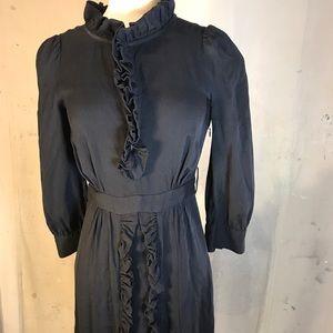 marc jacobs 2 xs silk navy blue ruffle long sleeve